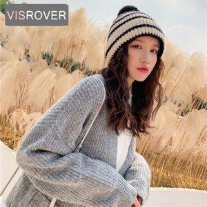 Шапочка / черепные колпачки витрина 7COCLORWAYS ACRILIC полосатая зимняя шляпа для женщин капот осенние полосы шапочки теплые мягкие чепухи подарок