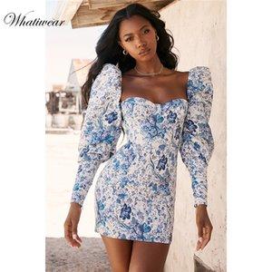Whatiwear 2019 Mini robe d'été Imprimer Flower Party Dress Streetwear femmes Soirée Robe manches bouffantes Vestidos de festa