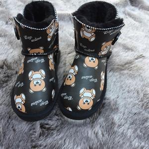 Baby-Mädchen-Schnee-Aufladung 2020 Winter Fashion Bär Patter Printed Schuhe Kinder beiläufige Winter Outdoor Schuhe Kinder Warmhalte Boots