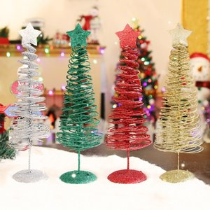 Artificial Mini Christmas Tree Tabletop Decoration Iron Crafts Window Restaurant Front Desk Store Ornaments Xmas Gift