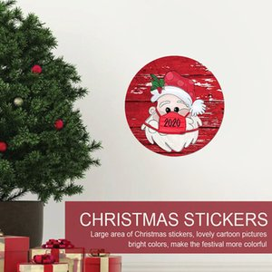 Christmas Stickers Creative Cartoon Christmas Round Window Glass Stickers 21*21cm PVC Christmas Santa Claus Atmosphere Stickers AAB2003