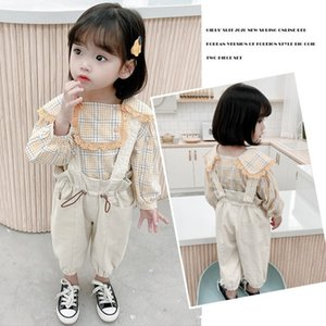 kids  clothes girls2002 Spring and Autumn New Korean style Plaid lapel doll shirt casual suspender pants two-piece set