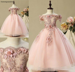 Blush Pink Lovely Cute Flower Girls Dresses 2020 Vintage Princess Daughter Toddler Pretty Kids Children Pageant Gowns