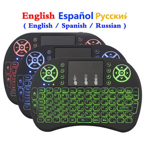 i8 Mini Wireless Keyboard 3 Colors Backlit 2.4ghz English Russian Spanish Air Mouse with Touchpad Remote Control For Android TV Box