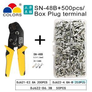 FARBEN SN-48B Zange 0.5-2.5mm2 20-13AWG Präzisionsbacken mit 500 Stück lot TAB 2.8 4.8 Klemmenblock toolterminals-Sets Crimpen