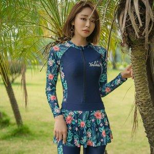 WBJn3 новых женщин Дайвинг Перейти прыжок брюки плавать один цельный брюки с длинными рукавами солнцезащитный водолазный костюм с юбкой из трех частей Hot Spring Suit