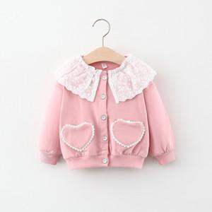 2020 Automne filles Vêtements pour enfants Manteau Vêtements de bébé fille amour de poche à tricoter X0923