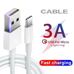 Cabo de alta velocidade 3A USB Carregador Rápido Micro USB Cabos de carregamento Cabines 1M 2M 3m