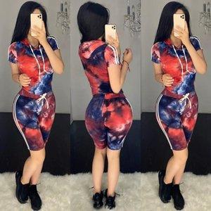 kadınlar QiNP4 için H652 tie-boyalı baskılı Suit modaya uygun gündelik ince sui tie-boyalı baskılı kapüşonlu moda H652 eğlence kapüşonlu uyum spor takım elbise