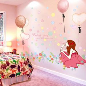 [Shijuekongjian] creativo Girl Pared etiquetas engomadas DIY Globos etiquetas de la pared de la habitación de los niños del bebé dormitorio boda decoración del hogar # GHRY