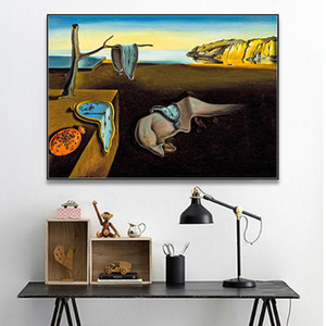 Salvador Dali The Persistence Of Memory Clocks Surreal Canvas Print Painting Poster Art Wall Pictures For Living Room Home Decor