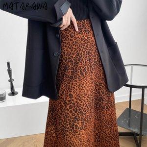 MATAKAWA elegante del leopardo de impresión mujeres de la falda 2020 Otoño Nueva altura de la cintura una línea de cola de pescado falda Faldas Mujer Moda 2020