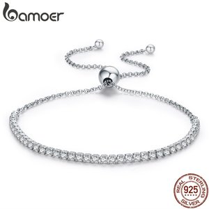 BAMOER 925 Sterlingsilber-Sekt-Strang-Armband Frauen Link-Tennis-Armband Silber Schmuck 3 Farben SCB029 C0924