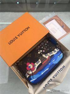 Heiße Frauen Portemonnaie Designer Luxus-Tasche Geldbörse aus echtem Leder-Kartenhalter Stern Luft 7264991 M68489 Top-Qualität Größe 15.5x 10.5x4cm mit Box