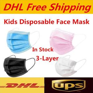 UPS DHL Бесплатная доставка белый розовый Одноразовые маски для лица маски детские красочные маски 3 слоя Balck пыли Рот Маски Обложка 3-слойный На складе