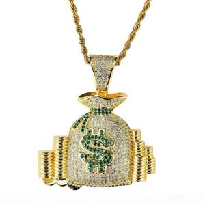 hip hop money bag diamonds pendant necklaces for men women purse wallet coins luxury necklace jewelry gold plated copper zircons Cuban chain