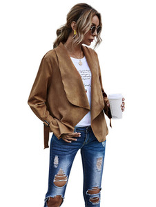Solid Color Cardigan Jacken Womens Designer-Revers-Neck Suede Weiche Mäntel Herbst-Winter-lose lange Hülsen-Frauen Oberbekleidung Kleidung