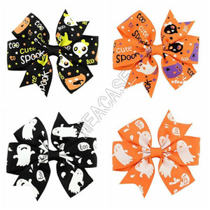 2020 Halloween Girls Kids Hairpin Ribbon Bows Barrettes Cute Cartoon Kids Pumpkin Hairpin Hair Accessories Halloween 24 Colors D82001