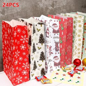 24pcs Merry Christmas Gift Bags Xmas Tree Packing Bag Snowflake Christmas Candy Box New Year 2021 Kids Favors Bag Noel Decor
