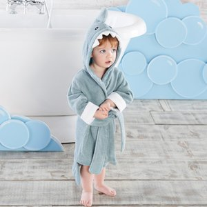 Size L fits 4-6 years old Children Blue and pink shark kids bathrobe Baby bath towel Infant Beach ponchos Swim Gown MX200811