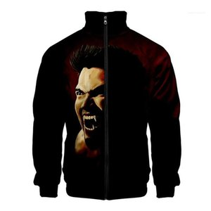 Manicotto lungo cappotto casuale Mens Derekhale 3D Print stand Collare Pocket Giacche Zipper Double Sided Printing