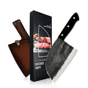 XYJ pleine Tang couteau de boucher serbe Chef de cuisine à la main Forged chef Couteau en acier au carbone à haute Clad Butcher Cleaver avec cuir Couteau gaine
