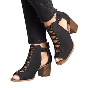My-Love Woman Sandals Shoes Summer Pumps High Heels Thick Peep Toe Buckle Strap Fashion Hollow Solid Gladiator Plus Size 35-43