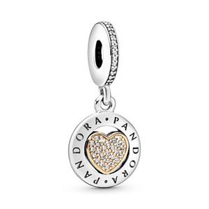 2020 Mode-Design 925 Sterlingsilber-Logo Pave Herz baumeln Charme-Korn-Anhänger-passende Pandora Armband oder Halskette für DIY Schmuck machen