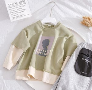 Autumn Children's Sweater Fashion Boy Cartoon Printing Fake Two T-Shirt Baby Top Single Long Sleeve Foreign Style