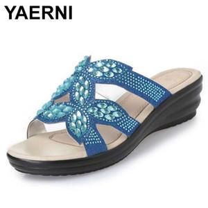 YAERNI nueva moda Rhinestone de las mujeres Zapatos de verano de los deslizadores de las sandalias de cuero genuino sandalias antideslizantes zapatos de las mujeres