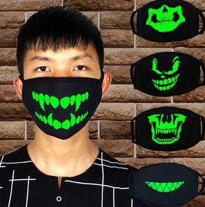 Preto Cartoon Face Máscara Dentes engraçados Punk Luminous Crânio do fantasma Anti- Poeira Inverno Cubre Bocas Hombre Cotton Mouth máscara FWD1043