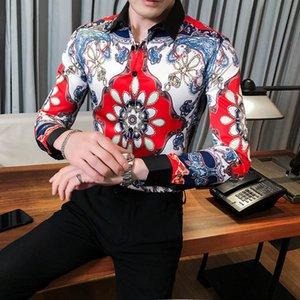 Bohemian Chemise imprimée Paisley Slim Fit hommes Designer Shirt Vêtements pour hommes 2020 unique nouvelle tendance à manches longues Souvenir