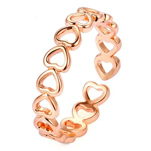 2020 Silver Colour Hollowed-out Heart Shape Open Ring Design Cute Fashion Love Jewelry For Women Girl Child Gifts Adjustable