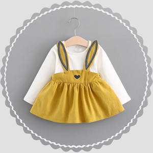 0-3 Years Old Autumn Baby Kids Toddler Girl Cute Rabbit Bandage dress Suit Mini Pullover Dresses 827