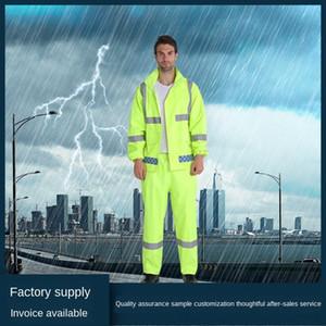 7TG7Z vert fluorescent fendu ensemble réfléchissant devoir vert fluorescent Raincoat protection du travail en plein air imper d'équitation d'assainissement