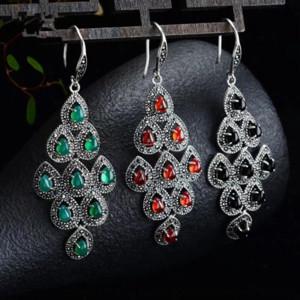 argento i2JSX Thai esagerato Garnet diamante orecchini pendenti granato pietra ciondolo pendente in pietra agata verde lungo gioiello in argento delle donne