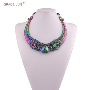 GRACE JUN New Arrival National Wind Exaggerated Ethnic Carved Colorful Dragon Shape Chunky Collar Choker Necklace Best Jewelry