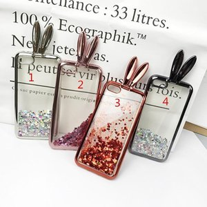 For Iphone 7 6 6s Plus Cute Rabbit Ears Glitter Dynamic Liquid Quicksand Tpu Silicone Case For Iphone 5 5s Se With Stand Cover