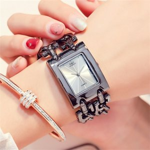Часы Щедрый Luxury Г.Д. Женские Дамы браслет часы черный Стильные кварцевые наручные часы Часы Mujer Регулируемый диапазон X0926