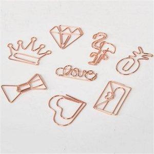 Clip di carta creativo Metal Rose Gold Crown Flamingo Clip di carta Bookmark clip Memo Planner materiale scolastico cancelleria per ufficio