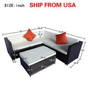 SCHIFF VON USA 4 Stück Cushioned Außenpatio PE Rattan Möbel Set Sectional Gartensofa (Brown Rattan + Beige Kissen) SH000026AAA