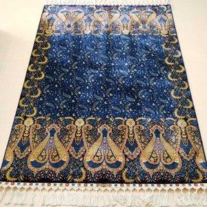 FangCunJinXiu 4x6 ft Blue Auspicious Flower Pattern Carpet Persian Handmade Silk Rug For Study Room Or Living Room FC3010063