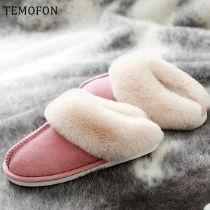 TEMOFON 2020 sıcak kadınlar evlerinde yumuşak kürk kadın terlik ev bayan ayakkabı Artı boyutu ayakkabı HVT1297 üzerinde kayma