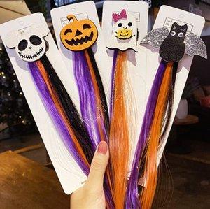 Meninas crianças peruca colorida grampos de cabelo hairpin Halloween barrette headress Santo Cat Bat Cabelo abóbora pins Partido Hallowmas acessório NOVO D82706