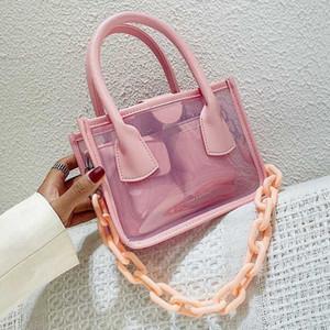 Transparent PVC Small Crossbody Bags For Women 2020 Summer Shoulder Handbag Female Travel Beach Bags Chain Cross Body Bag P1vy#