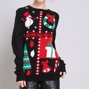 Abbigliamento Donna il giorno di Natale del progettista maglioni di moda allentato Natale Print Womens Ugly Maglioni di Natale Casual femmine