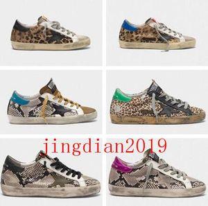 GGDBItalia Marca Oro Paillette Heel Shoes Classic Snakeskin Stampa pelle Oche Designer scarpe da tennis Superstar Uomini / Donne Sport VCE casuale