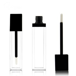 Clear Square Plastic Lip Gloss Tubes Empty Lipgloss Sample Container Cosmetic Lip Glaze Packaging Bottle Square Plastic Lip Gloss Tubes