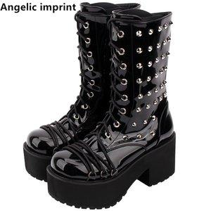 Angelic imprint handmade mori girl Women motorcycle punk boots lady lolita Boots woman high trifle heels pumps shoes rivets 8cm