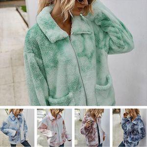 2020 Abbindebatik Winterjacke Warme Berber Fleece Mäntel Frauen Plüsch Pelz Tops mit Taschen-Reißverschluss-Mantel Outwear Fashion Boutique Tuch LY82402